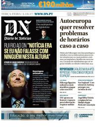 capa Diário de Notícias de 3 outubro 2017