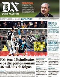 capa Diário de Notícias de 4 abril 2018