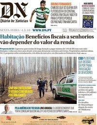 capa Diário de Notícias de 4 maio 2018