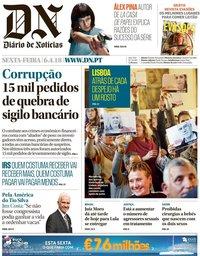 capa Diário de Notícias de 6 abril 2018