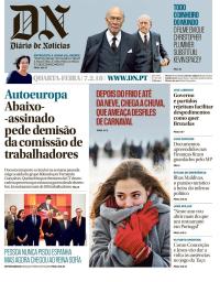 capa Diário de Notícias de 7 fevereiro 2018