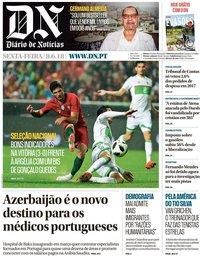 capa Diário de Notícias de 8 junho 2018