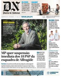 capa Diário de Notícias de 8 setembro 2017
