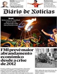 capa Diário de Notícias de 9 outubro 2018