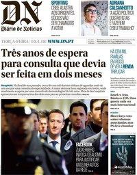capa Diário de Notícias de 10 abril 2018