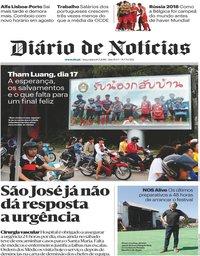 capa Diário de Notícias de 10 julho 2018
