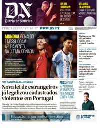 capa Diário de Notícias de 10 outubro 2017
