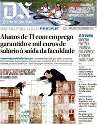 capa Diário de Notícias de 11 junho 2018