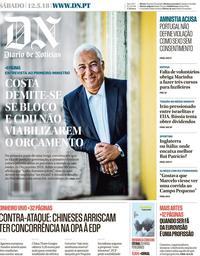 capa Diário de Notícias de 12 maio 2018