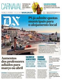 capa Diário de Notícias de 13 fevereiro 2018