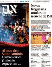 capa Diário de Notícias de 13 junho 2018