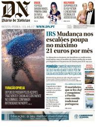capa Diário de Notícias de 13 outubro 2017