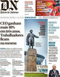capa Diário de Notícias de 14 maio 2018