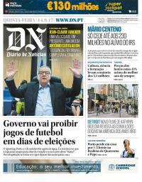 capa Diário de Notícias de 14 setembro 2017