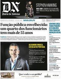 capa Diário de Notícias de 15 março 2018