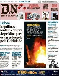capa Diário de Notícias de 15 abril 2018