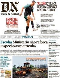 capa Diário de Notícias de 15 junho 2018