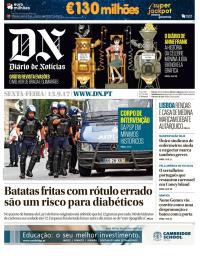 capa Diário de Notícias de 15 setembro 2017