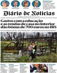 capa Diário de Notícias de 15 outubro 2018