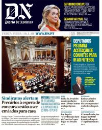 capa Diário de Notícias de 16 janeiro 2018