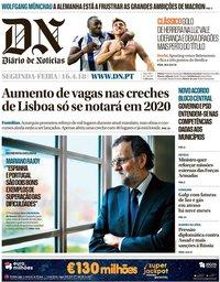 capa Diário de Notícias de 16 abril 2018