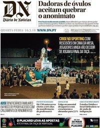 capa Diário de Notícias de 16 maio 2018