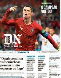 capa Diário de Notícias de 16 junho 2018