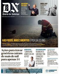 capa Diário de Notícias de 16 outubro 2017