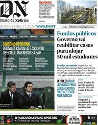 capa Diário de Notícias de 17 maio 2018