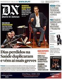 capa Diário de Notícias de 18 março 2018