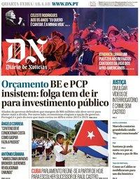 capa Diário de Notícias de 18 abril 2018