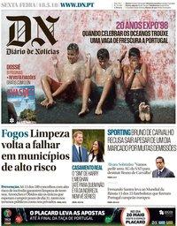 capa Diário de Notícias de 18 maio 2018