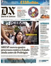 capa Diário de Notícias de 18 setembro 2017