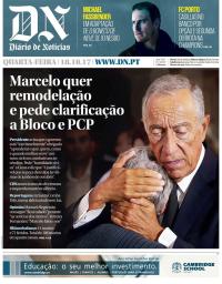 capa Diário de Notícias de 18 outubro 2017