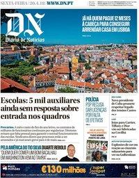 capa Diário de Notícias de 20 abril 2018