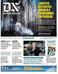 capa Diário de Notícias de 20 outubro 2017