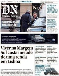 capa Diário de Notícias de 22 março 2018