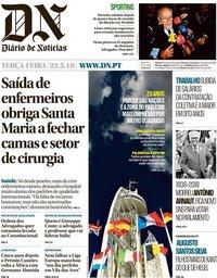 capa Diário de Notícias de 22 maio 2018