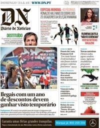 capa Diário de Notícias de 24 junho 2018