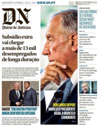 capa Diário de Notícias de 25 janeiro 2018