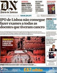 capa Diário de Notícias de 25 maio 2018