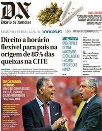capa Diário de Notícias de 25 junho 2018