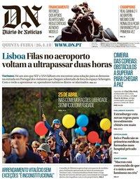 capa Diário de Notícias de 26 abril 2018
