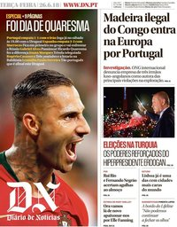 capa Diário de Notícias de 26 junho 2018