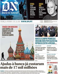 capa Diário de Notícias de 27 março 2018