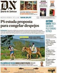 capa Diário de Notícias de 27 abril 2018