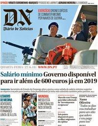 capa Diário de Notícias de 27 junho 2018