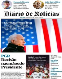 capa Diário de Notícias de 27 agosto 2018
