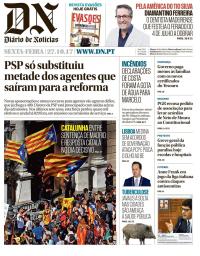capa Diário de Notícias de 27 outubro 2017
