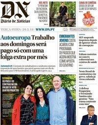 capa Diário de Notícias de 29 maio 2018
